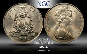 1970 BERMUDA 50 CENTS NGC MS66 ONLY 5 GRADED HIGHER