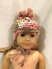 """American Girl doll 18"""" Brown green pink hat/beanie winter outfit Clothes fits"""