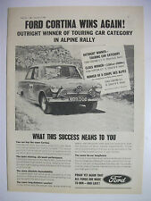 1964 FORD CORTINA WINS ALPINE RALLY TOURING CARS BRITISH MAGAZINE ADVERTISEMENT