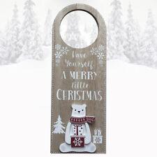 Christmas Door Hanger Plaque Polar Bear Merry Little Christmas Time Wooden Sign