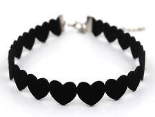 Choker Halsband Herz Schwarz Leder Kropfband Halskette Kette Silber Herzen