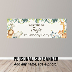 Personalised Birthday Banner Party Poster Safari Zoo Jungle Animals