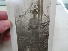 Man With Hunting Shotgun Photo Rppc Antique Postcard