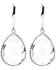 14K Oro Blanco Pendientes con Piedra Preciosa Grandes Transparente Cristal