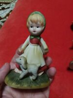 Homco Girl Figurine With Dog or Lamb. Red dress. Cute
