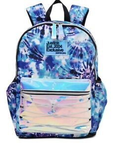 Justice Exclusive Backpack Tie Dye Purple/Blue/Pink Iridescent *New With Tags*