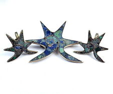 Old Sterling Silver 925 Mexico Inlaid Jewelry Suite Set Pin Brooch Earrings