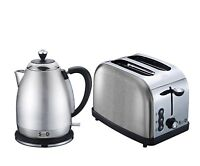 Modern Silver Diamond Sparkle 1.8L Electric Kettle 2 Slice Toaster Breakfast Set