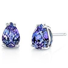 14 kt White Gold Pear Shape 1.75 ct Alexandrite Earrings