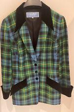 Thierry Mugler Jacket 90s Size french 40 EU 38 S/M Checkered Velvet Collar