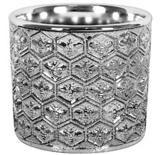 Silver Art Flower Pot Planter with Bee reliefs, for indoor use 11 x 13 cm