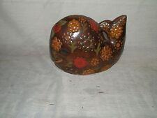 Vintage, Ceramic, Stoneware, Brown, Flowered, Whale, Figurine