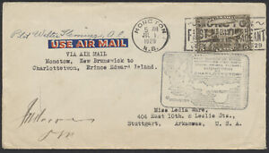 1929 Pilot Signed Flight Cover, AAMC #2939 Moncton NB to Charlottetown, Labels