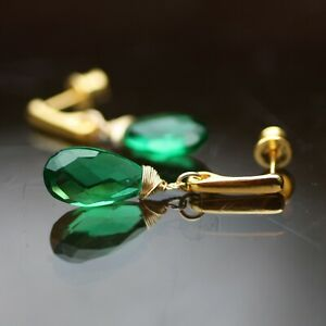 Wire Wrapped Emerald Earrings Gold Vermeil Stud Drops , May Birthstone , 20th An
