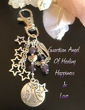 AMETHYST HEALING STRESS, ANXIETY CRYSTALS ANGEL KEYRING CHARM GIFT CHAKRA SET .