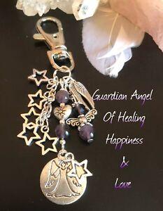 AMETHYST HEALING STRESS, ANXIETY CRYSTALS ANGEL KEYRING CHARM GIFT CHAKRA SET .