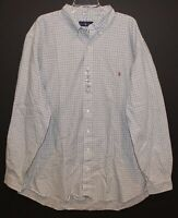 Polo Ralph Lauren Big and Tall Mens Green Blue Check Button-Front Shirt NWT 2XLT