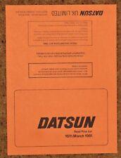 1981 DATSUN PRICE LIST - 280ZX 280C Skyline Laurel Bluebird Violet Sunny Cherry