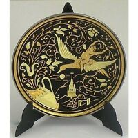 Damascene Gold Bird Round Miniature Decorative Plate by Midas of Toledo Spain