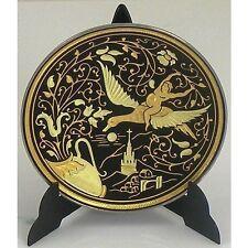 Damascene Gold Bird Round Miniature Decorative Plate by Midas of Toledo Spain