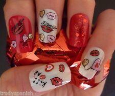St Valentin Nail Art Stickers Décalques Transferts Lèvres Love Cœurs Ongle