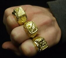 70s 80s 1980s Fancy Dress 3 X Gold Coloured Metal Rings Pimp Rapper Smiffys