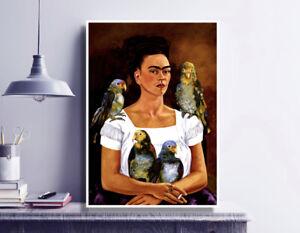 Frida Kahlo Painting Print / Self Portrait - Me and My Parrot / Fine Art