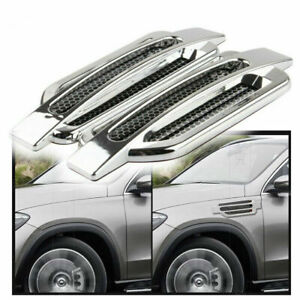 Pair Car Chrome Air Flow Intake Vent Fender Side Exterior Decor Sticker Auto SUV