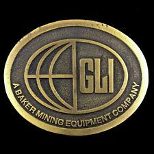 Vtg 80s Baker Mining Equipment Company GLI Miner Mine Employee Belt Buckle