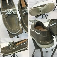 Sperry Top Sider Boat Shoes 7.5 Men Taupe Leather Worn 2x YGI G8