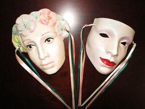 2 Cast of Thousands Ceramic Face Masks Claudia Cohen 1978 VTG Floral Mardi Gras