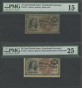 FR1267; FR1271 15¢, 4TH ISSUE FRACTIONAL CURRENCY PMG GRADED BS2804