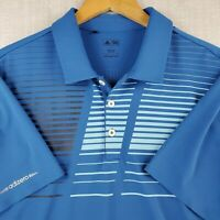 ADIDAS ADIZERO Size Large Mens Mesh Perforated Golf Polo Shirt Blue Striped