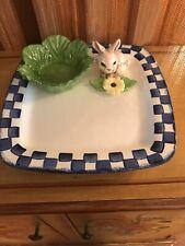 Vintage CALI POTTERY 3D Square Vegetable Chip & Dip Plate Platter BUNNY RABBIT
