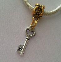 Silver Gold Antique Key Heart Dangle Bead for European Charm Bracelet Two Tone