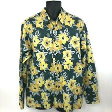 Joe Kealoha's Reyn Spooner Mens Large Green Yellow Long Sleeve Button Front