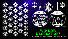 CHRISTMAS STICKERS 2 BALLS 31 SNOWFLAKES REUSABLE HOME SHOP WINDOW DECORATIONS +