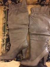 NEW Two Lips Knee High Grey Leather Boots Size 10