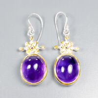 Vintage SET Natural Amethyst 925 Sterling Silver Earrings /E37116