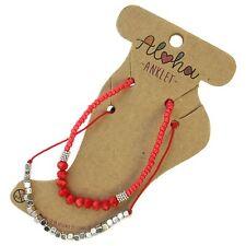 Women Ladies Anklet Red  Silver Ankle Bracelet Festival Beach Jewellery AL75
