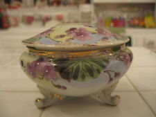 Beautiful Antique Nippon Hair Receiver Hand Painted Purple Violets Gold Trim