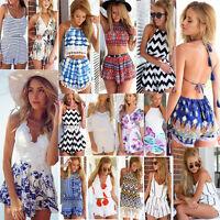 UK New Womens Holiday Mini Playsuit Ladies Jumpsuit Summer Beach Dress Size 6-14
