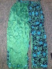 NWT Tienda Ho Pants Boutique Indian Wearable Art Green Batik Rayon Silk OS S M L