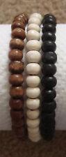 Set of 3 Ladies Wooden Bead Tribal / Surfer Elastic Bracelet - Black White Brown