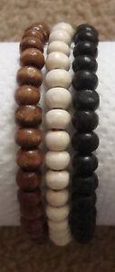 Set of 3 Mens Wooden Bead Tribal / Surfer Elastic Bracelet - Black White Brown