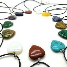 Gemstone HEART PENDANT 25mm Crystal Necklace Cord Heart Shape UK SELLER