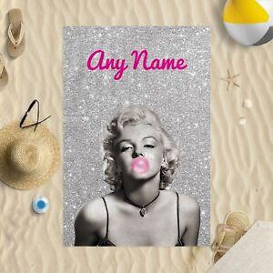 """58x39"""" Personalised Marilyn Monroe Pink Bubblegum Microfibre Beach Towel"""