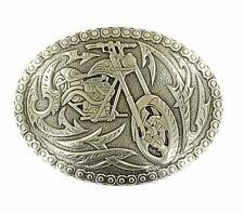Crumrine Western Mens Belt Buckle Oval Motorcycle Silver 38022