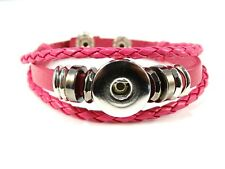 Noosa Style Leather Bracelet Chunks Ginger Snaps Snap Button Charms Pink