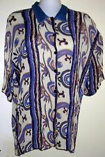 KLOZ - 2 Piece Rayon Set - Button Front Blouse & Elastic Waist Skirt  - SIZE XL